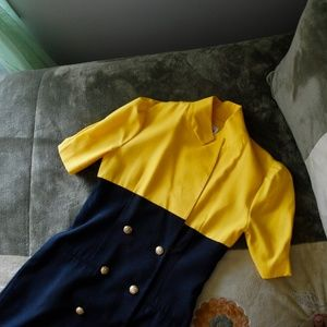 color block high collar button up dress